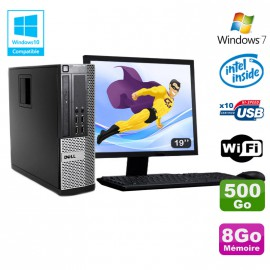 Lot PC DELL Optiplex 790 SFF Intel G2020 8Go Disque 500Go WIFI Win 7 + Ecran 19