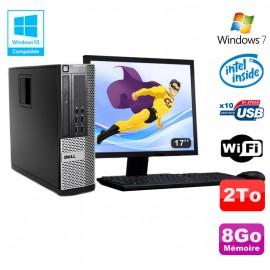 Lot PC DELL Optiplex 790 SFF Intel G2020 8Go Disque 2To WIFI Win 7 + Ecran 17