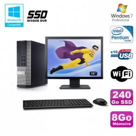 """Lot PC Dell 7010 SFF Intel G870 3.1GHz 8Go Disque 240Go SSD Wifi W7 + Ecran 19"""""""