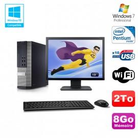 """Lot PC DELL Optiplex 7010 SFF G870 DVD 8Go Disque 2To Wifi Win 7 + Ecran 19"""""""