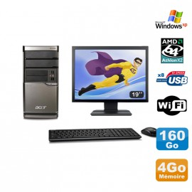 Lot PC ACER M420 Athlon X2 4850B 4Go Disque 160Go DVD WIFI Win XP + Ecran 19""
