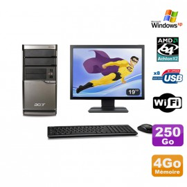 Lot PC ACER M420 Athlon X2 4850B 4Go Disque 250Go DVD WIFI Win XP + Ecran 19""