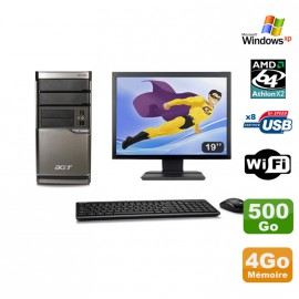 Lot PC ACER M420 Athlon X2 4850B 4Go Disque 500Go DVD WIFI Win XP + Ecran 19""