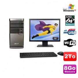 Lot PC ACER M420 Athlon X2 4850B 8Go Disque 2To DVD WIFI Win XP + Ecran 19""
