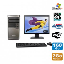Lot PC ACER M420 Athlon X2 4850B 2Go Disque 160Go DVD WIFI Win XP + Ecran 22""