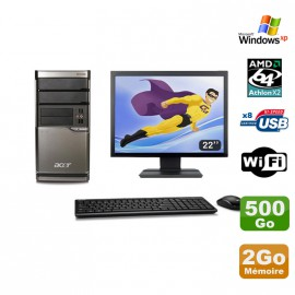 Lot PC ACER M420 Athlon X2 4850B 2Go Disque 500Go DVD WIFI Win XP + Ecran 22""