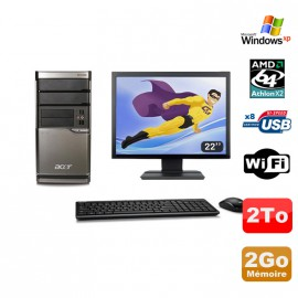 Lot PC ACER M420 Athlon X2 4850B 2Go Disque 2To DVD WIFI Win XP + Ecran 22""