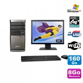 Lot PC ACER M420 Athlon X2 4850B 8Go Disque 160Go DVD WIFI Win XP + Ecran 22""