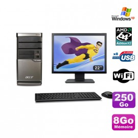 Lot PC ACER M420 Athlon X2 4850B 8Go Disque 250Go DVD WIFI Win XP + Ecran 22""
