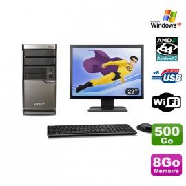 """Lot PC ACER M420 Athlon X2 4850B 8Go Disque 500Go DVD WIFI Win XP + Ecran 22"""""""