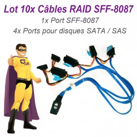Lot 10 Câbles Nappes SFF-8087 Carte DELL SAS SATA 042N7H Disque dur RAID UCS-71