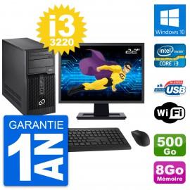 """PC Tour Fujitsu P400 Ecran 22"""" i3-3220 RAM 8Go Disque Dur 500Go Windows 10 Wifi"""