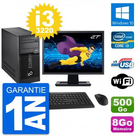 """PC Tour Fujitsu P400 Ecran 27"""" i3-3220 RAM 8Go Disque Dur 500Go Windows 10 Wifi"""