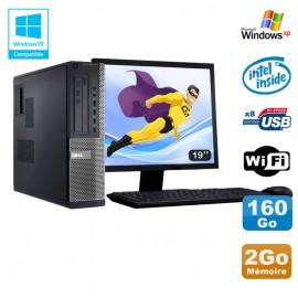 Lot PC DELL Optiplex 3010 DT G640 2.8Ghz 2Go 160Go DVD WIFI Win XP + Ecran 19