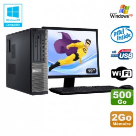 Lot PC DELL Optiplex 3010 DT G640 2.8Ghz 2Go 500Go DVD WIFI Win XP + Ecran 19