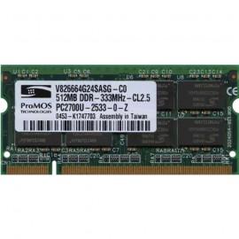 512Mo RAM PC Portable SODIMM ProMOS V826664G24SASG-C0 DDR1 PC-2700 333MHz