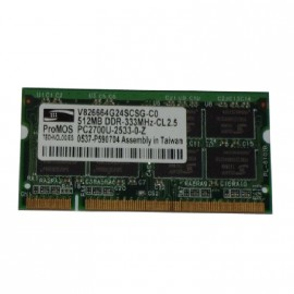 512Mo RAM PC Portable SODIMM ProMOS V826664G24SCSG-C0 DDR1 PC-2700 333MHz
