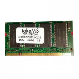 512Mo RAM PC Portable SODIMM TakeMS DD512TEC200 DDR1 PC-2700 333MHz