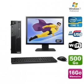 "PC Lenovo M90P 5864 Core i5-650 3.2GHz 16Go 500Go Graveur WIFI W7 + Ecran 22"""