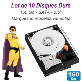 "Lot de 10 Disques durs 3.5"" 160Go SATA Western Digital Hitachi Samsung Seagate"