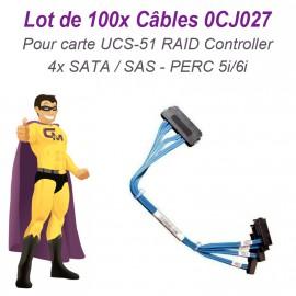 Lot x100 Câbles Cordons Nappe Carte SAS UCS-51 RAID Controller PERC 0CJ027 Foxconn