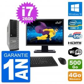 """PC Dell 390 SFF Ecran 22"""" i7-2600 RAM 4Go Disque Dur 500Go HDMI Windows 10 Wifi"""