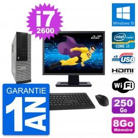 """PC Dell 390 SFF Ecran 22"""" i7-2600 RAM 8Go Disque Dur 250Go HDMI Windows 10 Wifi"""
