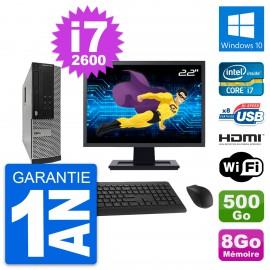 """PC Dell 390 SFF Ecran 22"""" i7-2600 RAM 8Go Disque Dur 500Go HDMI Windows 10 Wifi"""