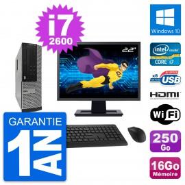 """PC Dell 390 SFF Ecran 22"""" i7-2600 RAM 16Go Disque Dur 250Go HDMI Windows 10 Wifi"""