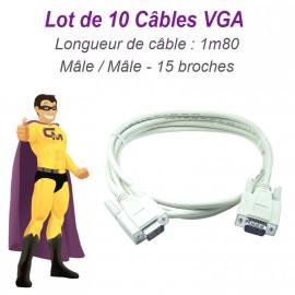 Lot x10 Câbles VGA SUB-D 15 broches Mâle-Mâle 1m80 Ecran PC Vidéoprojecteur NEUF