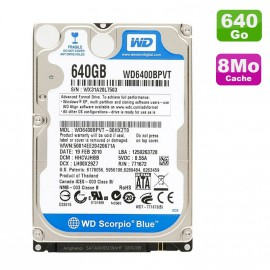"Disque Dur 640Go SATA 2.5"" Western Digital Scorpio Blue WD6400BPVT Pc Portable"