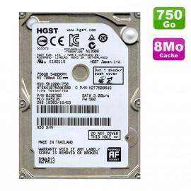 """Disque Dur 750Go SATA 2.5"""" Hgst HTS541075A9E680 Pc Portable 8Mo"""