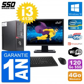 """PC Fujitsu E720 E85+ DT Ecran 22"""" Core i3-4130 RAM 4Go SSD 120Go Windows 10 Wifi"""