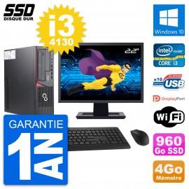 """PC Fujitsu E720 E85+ DT Ecran 22"""" Core i3-4130 RAM 4Go SSD 960Go Windows 10 Wifi"""
