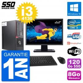 """PC Fujitsu E720 E85+ DT Ecran 22"""" Core i3-4130 RAM 8Go SSD 120Go Windows 10 Wifi"""