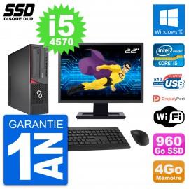 """PC Fujitsu E720 E85+ DT Ecran 22"""" Core i5-4570 RAM 4Go SSD 960Go Windows 10 Wifi"""