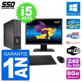 """PC Fujitsu E720 E85+ DT Ecran 22"""" Core i5-4570 RAM 8Go SSD 240Go Windows 10 Wifi"""
