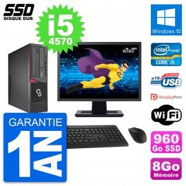 """PC Fujitsu E720 E85+ DT Ecran 22"""" Core i5-4570 RAM 8Go SSD 960Go Windows 10 Wifi"""