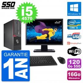 """PC Fujitsu E720 E85+ DT Ecran 22"""" i5-4570 RAM 16Go SSD 120Go Windows 10 Wifi"""