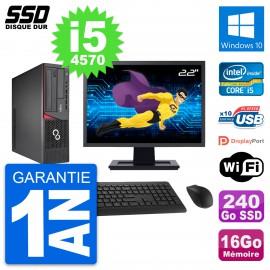 """PC Fujitsu E720 E85+ DT Ecran 22"""" i5-4570 RAM 16Go SSD 240Go Windows 10 Wifi"""