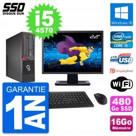 """PC Fujitsu E720 E85+ DT Ecran 22"""" i5-4570 RAM 16Go SSD 480Go Windows 10 Wifi"""