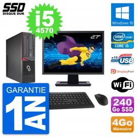 """PC Fujitsu E720 E85+ DT Ecran 27"""" Core i5-4570 RAM 4Go SSD 240Go Windows 10 Wifi"""