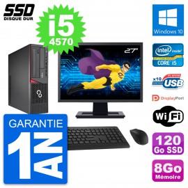 """PC Fujitsu E720 E85+ DT Ecran 27"""" Core i5-4570 RAM 8Go SSD 120Go Windows 10 Wifi"""