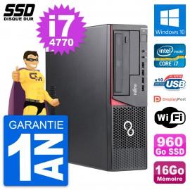 PC Fujitsu Esprimo E720 E85+ DT Intel i7-4770 RAM 16Go SSD 960Go Windows 10 Wifi