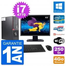 """PC Fujitsu E720 DT Ecran 19"""" Intel i7-4770 RAM 4Go Disque 250Go Windows 10 Wifi"""