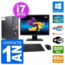 """PC Fujitsu E720 DT Ecran 19"""" Intel i7-4770 RAM 4Go Disque 500Go Windows 10 Wifi"""