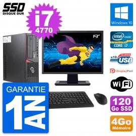 """PC Fujitsu E720 E85+ DT Ecran 19"""" Core i7-4770 RAM 4Go SSD 120Go Windows 10 Wifi"""
