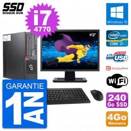 """PC Fujitsu E720 E85+ DT Ecran 19"""" Core i7-4770 RAM 4Go SSD 240Go Windows 10 Wifi"""