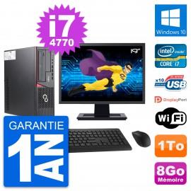 """PC Fujitsu E720 DT Ecran 19"""" Intel i7-4770 RAM 8Go Disque 1To Windows 10 Wifi"""