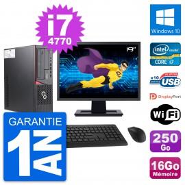 """PC Fujitsu E720 DT Ecran 19"""" Intel i7-4770 RAM 16Go Disque 250Go Windows 10 Wifi"""